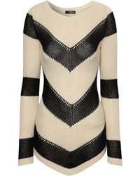 Jane Norman Chevron Stripe Dip Hem Jumper - Lyst