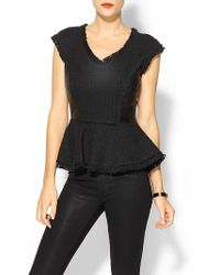 Rebecca Taylor Tweed Leather Top - Lyst