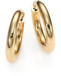 Roberto Coin 18K Yellow Gold Hoop Earrings/1 - Lyst