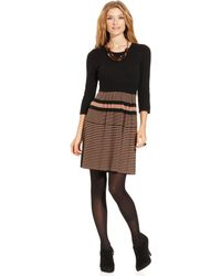 Spense Threequartersleeve Colorblocked Sweater Dress - Lyst