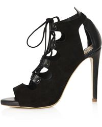 Topshop Gala Lace Up Cut Out Ghillie Shoes black - Lyst