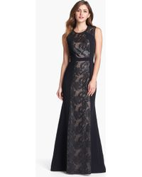 BCBGMAXAZRIA Linden Embellished Lace Inset Gown - Lyst