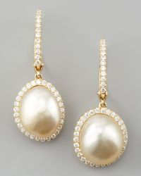 Eli Jewels - White South Sea Pearl & Diamond Framed Drop Earrings - Lyst