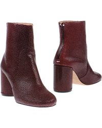 Maison Margiela Snake Printed Booties - Bordeaux - Lyst