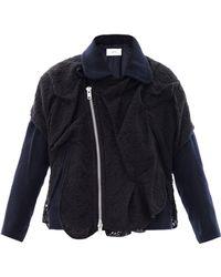 Julien David | Lace-Overlay Wool Biker Jacket | Lyst