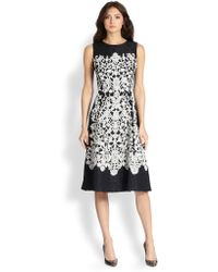 Oscar de la Renta Lace Embroidered Day Dress - Lyst