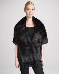 Pologeorgis - Long Rabbit Fur Stole with Pockets  - Lyst