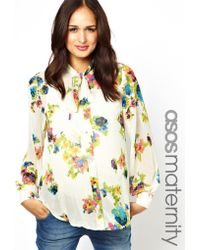 Boutique by Jaeger - Asos Maternity Blouse in Floral Print with Pussybow and Beaded Embellishment - Lyst