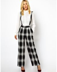 Antipodium - Asos Wide Leg Pants in Check with Suspenders - Lyst