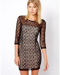 Mango Lace Bodyconscious Dress - Lyst