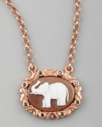 Amedeo - Black Diamond-trim Elephant Cameo Necklace - Lyst