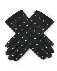 Black.co.uk Ladies' Black Italian Leather Gloves With Silver Studs– Silk Lined - Lyst