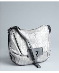 Kooba Metallic Silver Snakeskin Embossed Turn Lock Gabby Crossbody Bag - Lyst