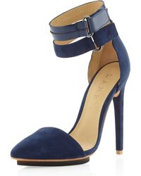 L.A.M.B. Oxley Pointedtoe Pump Navy Suede - Lyst
