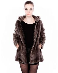 Pull&Bear Hooded Coat with Fur Detail - Lyst