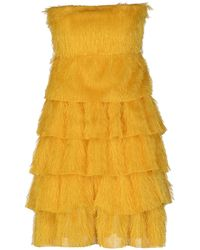 Rose' A Pois Sleeveless Wide Neckline Yellow Short Dress - Lyst