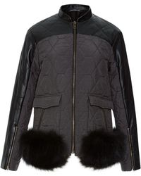 Timo Weiland -  Katrina Leather and Quilted Jacket with Fur Trim - Lyst