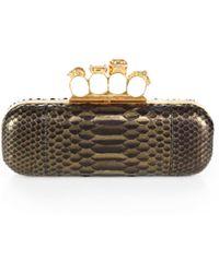 Alexander McQueen Python Knuckle Box Clutch - Lyst