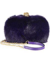 Alexander McQueen Dyed Fur Box Clutch - Lyst