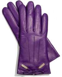 Coach Leather Bow Gloves - Lyst