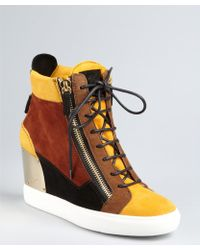 Giuseppe Zanotti Goldenrod Colorblock Suede Lace Up High Top Hidden Wedge Sneakers - Lyst