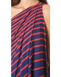 Halston Heritage One Shoulder Stripe Gown - Lyst