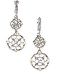 Judith Ripka Trellis White Sapphire, 14K Yellow Gold & Sterling Silver Garland Double-Drop Earrings - Lyst