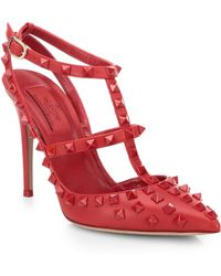 Valentino Rockstud Leather Slingback Pumps red - Lyst