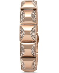 Vince Camuto - Mini Rose Gold Tone Glitz Pyramid Cover Bracelet Watch 17mm - Lyst