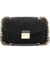 Fendi Mini Be Baguette Shearling Shoulder Bag - Lyst