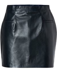 J.W. Anderson Leather Mini-Skirt In Navy - Lyst