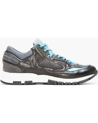 Lanvin Black Leather Blue-trimmed Trainers - Lyst