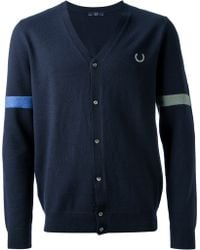 Fred Perry Striped Detail Cardigan - Lyst