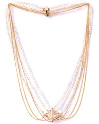 Melanie Georgacopoulos - White Diamond Pearl Losange Necklace - Lyst