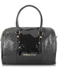 Versace Jeans - Black Signature Eco Patent Leather Satchel Bag - Lyst a8b58e1c72