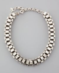 Lee Angel - Silverplated Clear Crystal Baguette Necklace - Lyst