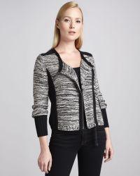 White + Warren - Knit Zipfront Jacket White Warren - Lyst
