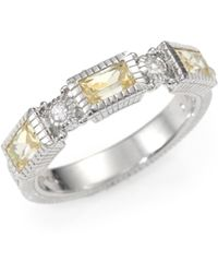 Judith Ripka Canary Crystal White Sapphire and Sterling Silver Ring - Lyst