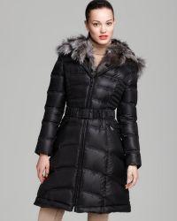 Dawn Levy Down Coat Belted Fur Collar Hood - Lyst