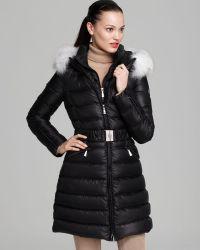 Dawn Levy Down Coat Laya Belted Fur Collar - Lyst
