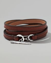 Ippolita - Pelle Sterlingtoggle Leather 4wrap Bracelet in Brown Size 2 - Lyst