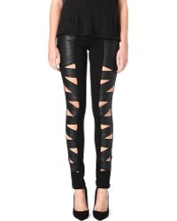 Tripp Nyc - Fauxleather Cutout Trousers - Lyst