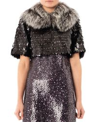 Marc Jacobs - Owl Sequin Cropped Fur Jacket - Lyst