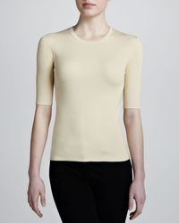 Michael Kors Ribbed Elbowsleeve Top Ivory - Lyst