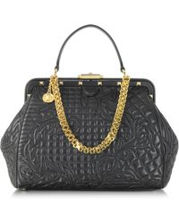 Versace Vanitas Black Quilted Leather Satchel - Lyst