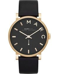 Marc By Marc Jacobs Baker Black Leather Ladies Watch - Lyst