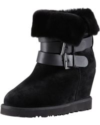 Ash - Yes Shearlingcuff Wedge Boot Black - Lyst