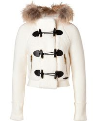 Burberry Brit   Wool Blend Short Jacket with Fur Trim in Natural White   Lyst