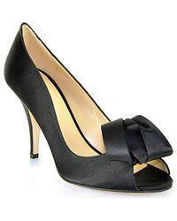 Kate Spade Clarice - Black Satin Peep Toe Pump - Lyst