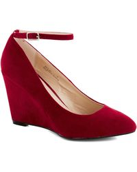 ModCloth | A Wink Of Whimsical Wedge in Red | Lyst